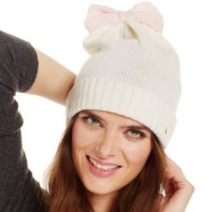 Kate Spade Pink Bow Colorblock Beanie